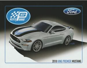 """2018 Petty's Garage """"King Premier"""" Ford Mustang SEMA Show Promo info card"""