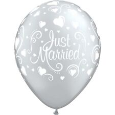 Silver Just Married  latex balloons x 5