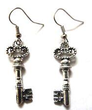 Lucky Key Silver Oxidized Dangle Hook Drop Dangle Earring Fashion Novelty Metal