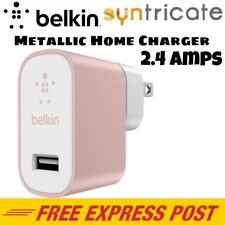 Belkin Metallic Home Wall USB Charger 2.4Amps for Apple/Samsung Device-Rose Gold