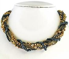Gold Hematite Crystal Necklace Elegant Twisted Mixed Metal Chain