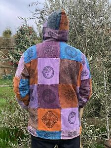 Hippy Vintage Patchwork Cotton Fleece handmade nepal hoodie heavy BTC purple
