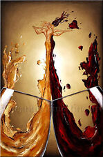 Limited Edition Giclee of Artist Original Man Woman Love Glass Wine Art Painting