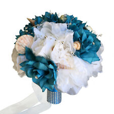 Keepsake large artificial flower seashell bouquet beach wedding turquoise blue