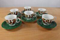 6 Kaffeetassen Fürstenberg Bunter Hahn  Form F Dekor 667