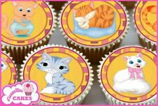 24 x CUTE MIXED CATS EDIBLE CUPCAKE TOPPERS CAKE WAFER RICE PAPER 8334