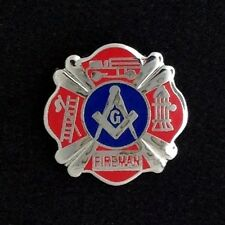 Masonic Fireman Lapel Pin in Silver (MFD-1)