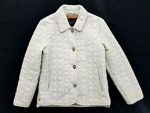 Coach Light Grey Leather Trim Quilted Jacket Size XS Womens