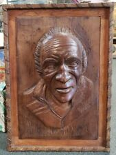 Early 20th Century American Folk Art Carved Wood Raised Relief Male Portrait