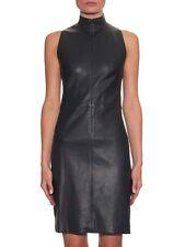 NEW THE ROW Navy Sleeveless Lambskin Stretch-Leather Dress Size 6