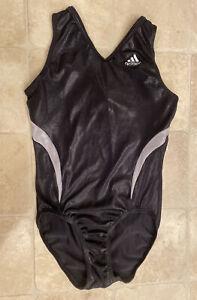 GK Elite Adidas Gymnastics Leotard Child Large CL Black Silver Foil Free Ship