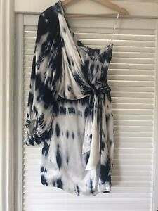 Shona Joy One Shoulder Tie Front Mini Dress Size 8