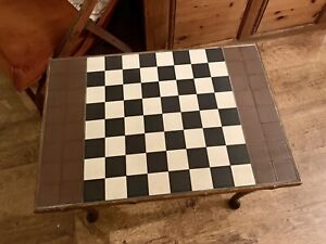 Vintage Bespoke Handmade Chess Table With Inlaid Tile Top