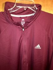 Nice Men's 2XL ADIDAS Sport Jacket Shirt ClimaLite Dri-Fit WarmUp 1/4 Zip Maroon