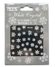 Christmas 3D Nail Art Stickers Nails Decals Transfers White Glitter Snow SN107