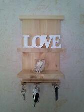 Schlüsselbrett Holz + Ablage