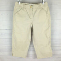 Talbots Womens Size 10 Stretch Solid Beige Mid Rise Slit Leg Capri Chino Pants