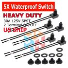 5Pcs Waterproof Push-Button Momentary On-Off Switch Toggle with 4' Leads NC NO