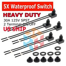 5pcs Waterproof Push Button Momentary On Off Switch Toggle With 4 Leads Nc No
