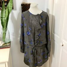 1979b35c55e Rebecca Taylor Dark Gray Drawstring Shirt Dress   Blue Floral Silk Tunic  Size 10