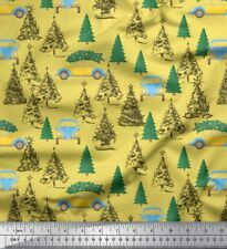 Soimoi Fabric Car & Tree Christmas Print Fabric by the Meter-XM-561K