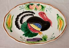 Large Made in Italy Hand Painted Turkey Serving Platter Tray Decor Thanksgiving
