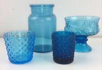 Lot Of Four Vintage Blue Glass Hobnail Votives, Jar And Compote Mcm Mid Century