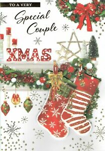 To A Very SPECIAL COUPLE - Quality Large CHRISTMAS CARD Stockings Design