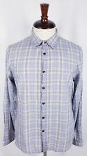 John Varvatos Converse Men's Long Sleeve Button Front Shirt Large Gray Plaid EUC