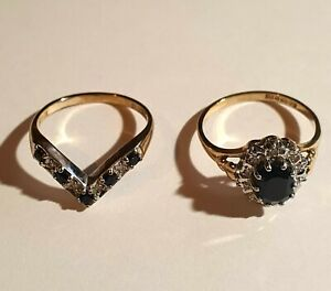 9ct Yellow Gold Sapphire and Diamond Cluster Ring and Wishbone ring Set