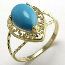 14k Gold Greek Key Reconstituted Turquoise Ring #R250