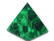 """BUTW Hand Carved Zaire Africa Malachite 4 1/2"""" Pyramid Heal Lapidary 0122K ab"""