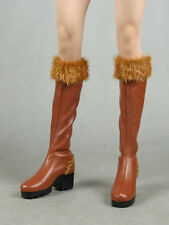 1/6 Scale Phicen Sexy Female Arhian Head Huntress Brown Leather Fur Top Boots