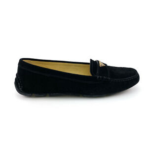 PRADA Suede Logo Loafers Black 38