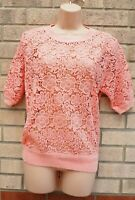 MARKS SPENCER PEACHY PINK PEACH FLORAL CROCHET LACE JUMPER TOP BLOUSE SHIRT 12