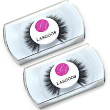 2 Boxed 100% Mink Hair Soft Cross False Eyelashes Eye Make-up Strip Lashes #008