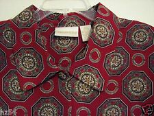 CHRISTIE & JILL 20W Dark Red Floral Medallion Polyester L/S Button Blouse Shirt