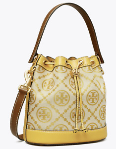 Tory Burch T Monogram Jacquard Bucket Bag Goldfinch yellow New Authentic