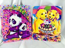 Lisa Frank folders set of 2 Panda Bears and Dogs eating ice cream