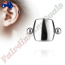 Plain Silver Plated Shield Helix/Cartilage Ear Cuff 316L Surgical Steel Barbell