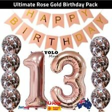 13th Rose Gold Birthday Pack 13 Thirteen Garland Balloons Decorations Party