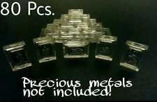 Lot of 80 X 1 Gram .999 Fine Silver Gold Bar Acrylic Holders / Fractional Cases