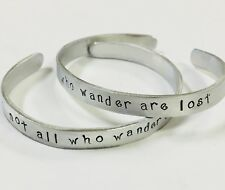Not all who wander are lost FREE SHIPPING handstamped cuff bracelet