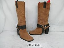 Newport News Brown Suede Leather Harness Knee High Fashion Boots Size 8