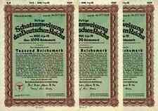 3 x DEUTSCHES Reich Schatzanweisung 1942 Berlin 1000 RM Schultzenstein + Kupons