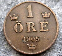 SWEDEN OSCAR II 1905 1 ORE