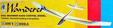 "Vintage WANDERER 72"" RC Sailplane Model Airplane PLAN + Powerpod Article"