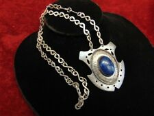 LAPIS LAZULI Sterling Silver Pendant Necklace & Chain RENAISSANCE REVIVAL