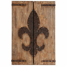Wood / Iron Fleur De Lis Wall Plaque In 2 Pieces - 34912