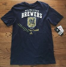 NEW! MILWAUKEE BREWERS SHORT SLEEVE TEE BLUE ADIDAS YOUTH X-LARGE (18)